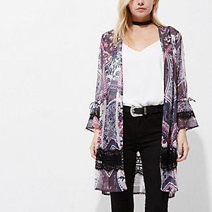 RI Petite - Paarse lange kimono met sjaalprint