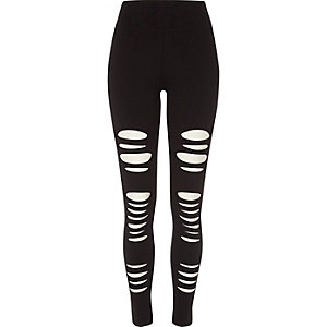 Zwarte ripped legging met hoge taille