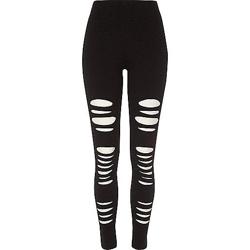 Black ripped high waisted leggings