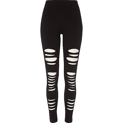 Black ripped high waisted leggings