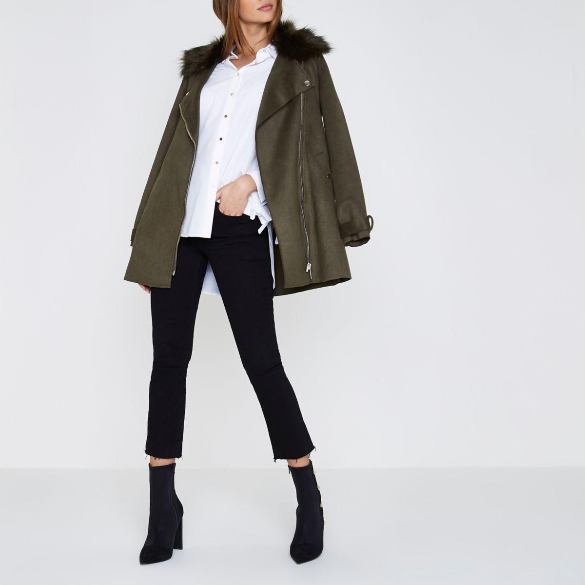 Khaki faux fur trim biker collar swing coat