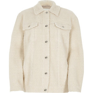 Cream fleece trucker jacket