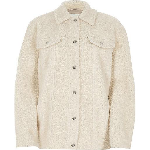 Cream fleece trucker jacket