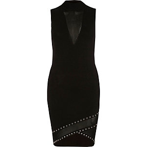 Black sleeveless mesh front bodycon dress