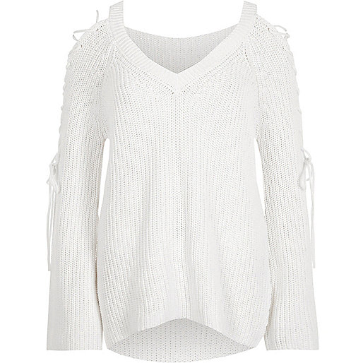 White ribbed knit tie sleeve V neck sweater