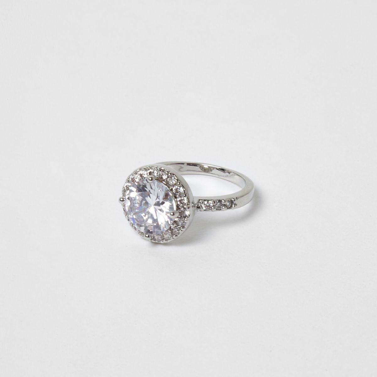 Silver tone rhinestone ring