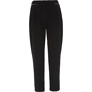 Black zip front tapered pants