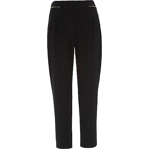 Black zip front tapered trousers