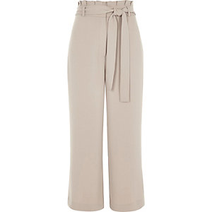 Grey high waisted belted culottes
