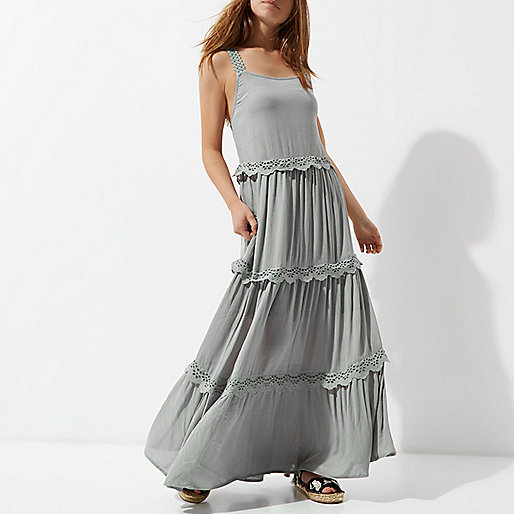 Petite green embroidered tiered maxi dress