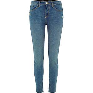 Amelie – Blaue Superskinny Jeans im Used-Look