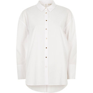 White bow back oversized shirt