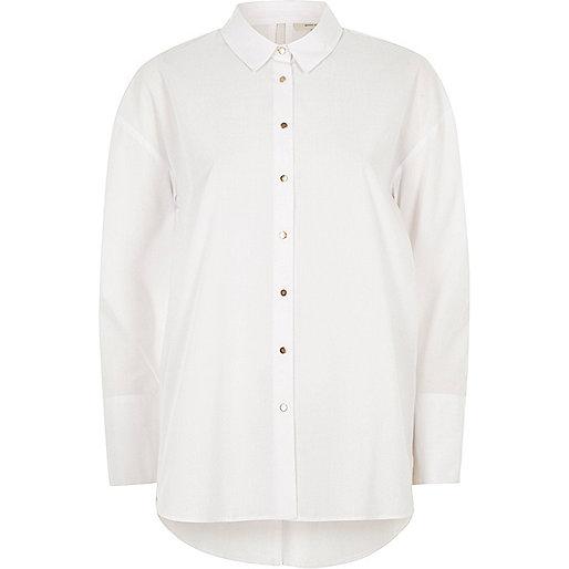White bow back oversized shirt