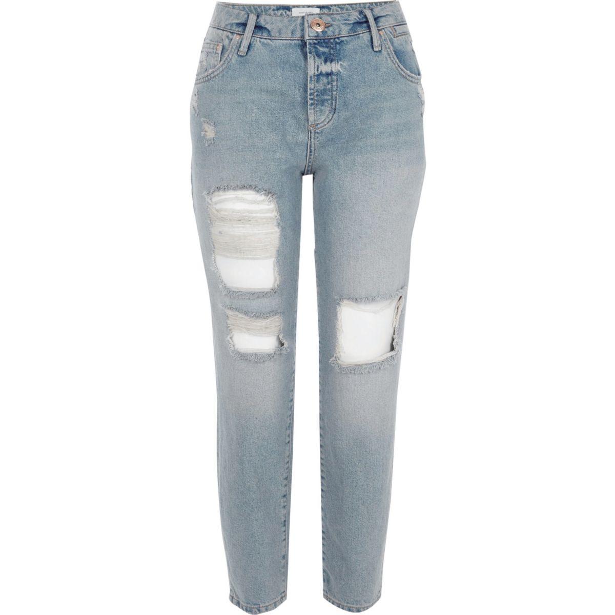 Mid blue ripped boyfriend jeans
