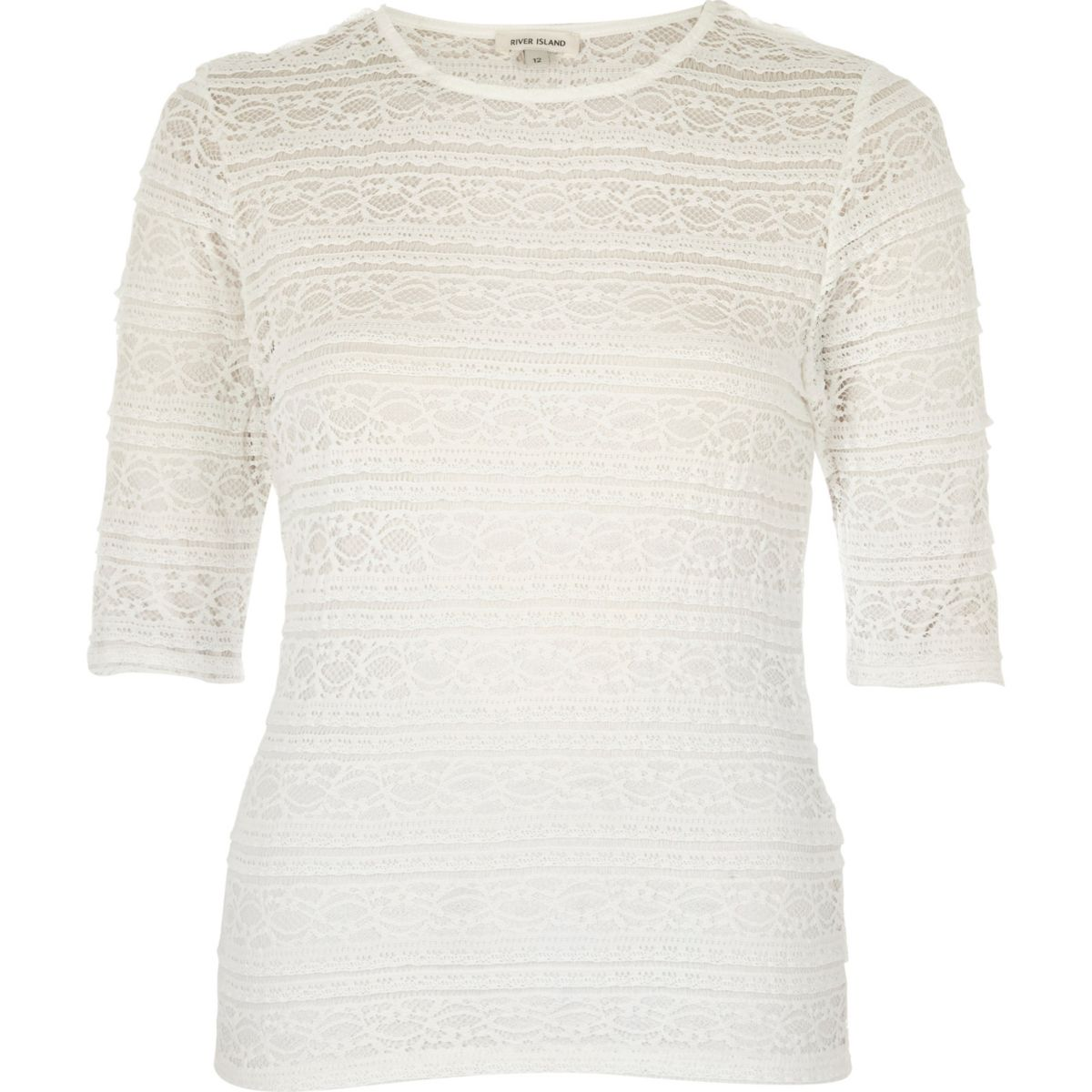 White sheer lace fitted top