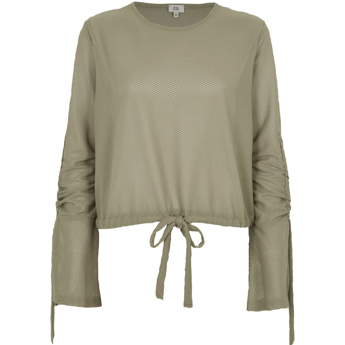 Green textured ruched sleeve top