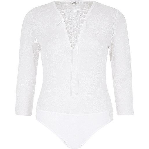 Cream burnout velvet lace-up front bodysuit