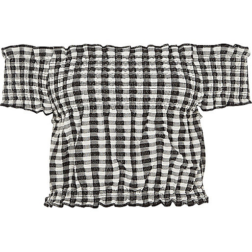 White gingham shirred bardot crop top