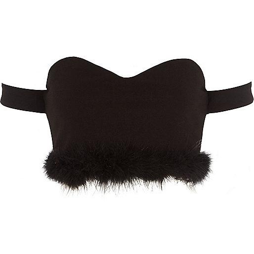 Black fluffy hem bardot crop top