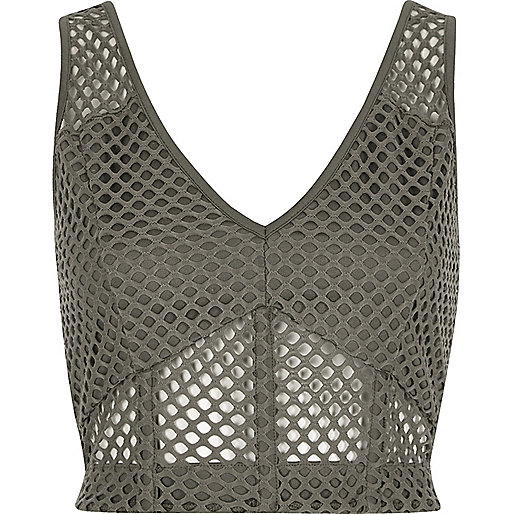Grey mesh fitted bralette