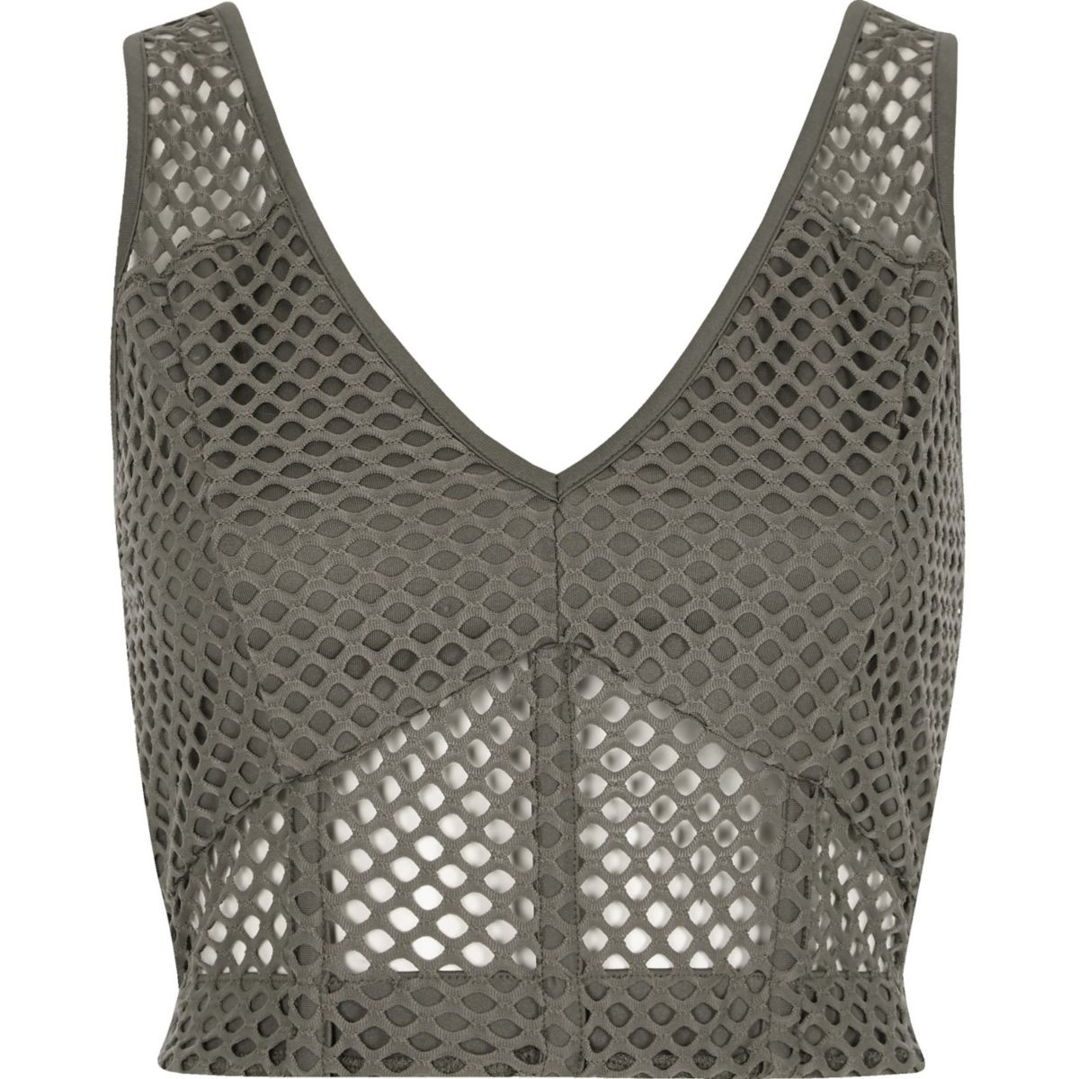 Grey mesh fitted bralet