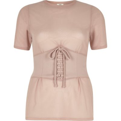 River Island Womens Nude corset front fitted T-shirt