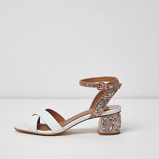 White embellished glitter block heel sandals