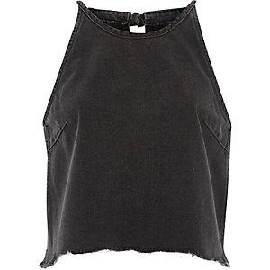 Black washed denim sleeveless crop top