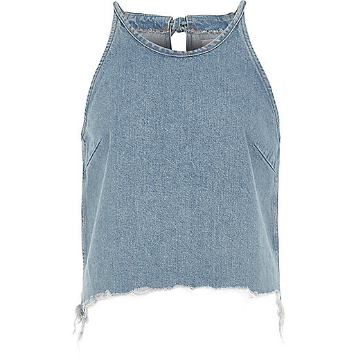 Blue denim raw edge cami crop top