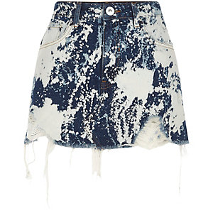 Mid blue bleach spot denim mini skirt