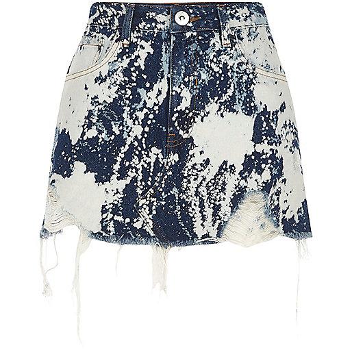 Mid blue bleach spot denim mini skirt