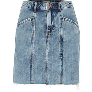 Blue panel high waisted denim skirt