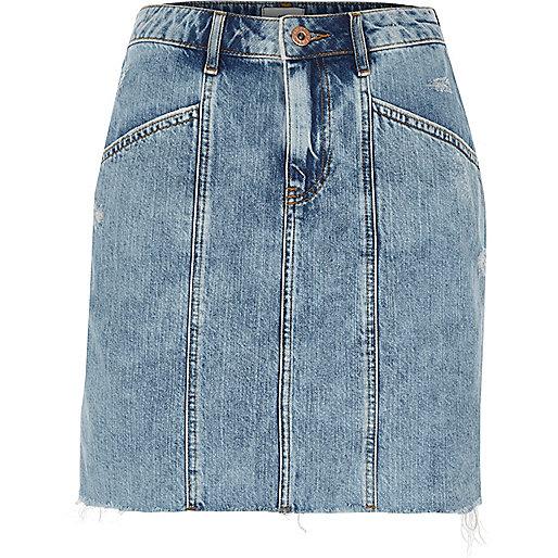Blue panel high waisted denim skirt