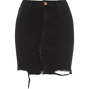 Black ripped hem high waisted denim skirt