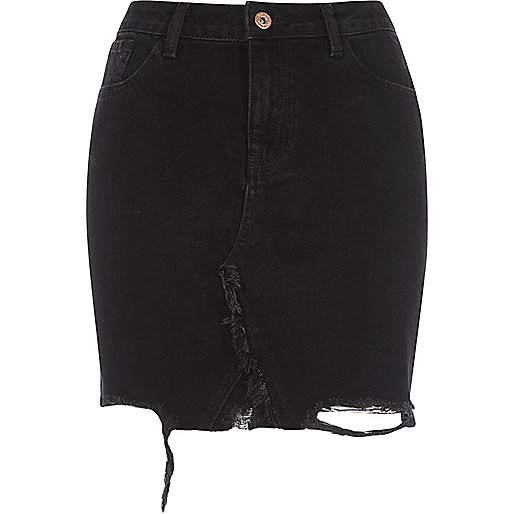 Black Ripped Denim Skirt - Dress Ala