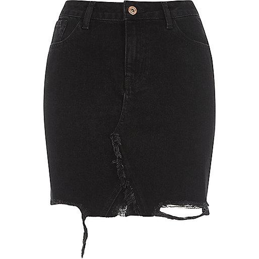 Black ripped hem high waisted denim skirt