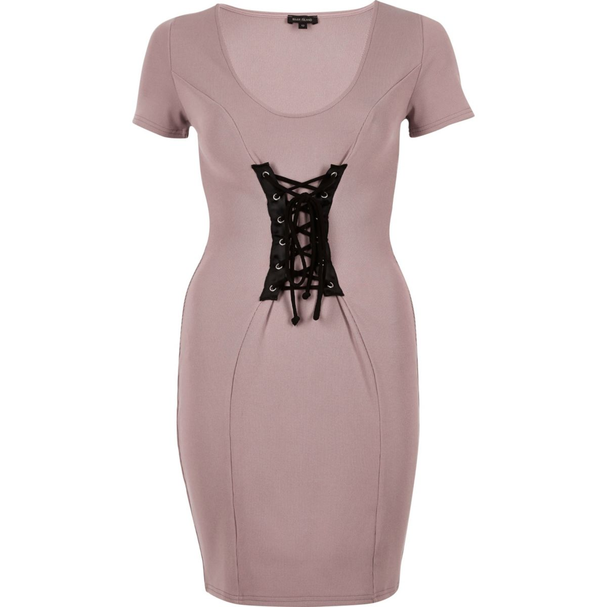 Pink contrast corset bodycon dress