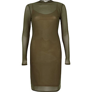 Khaki green mesh long sleeve bodycon dress