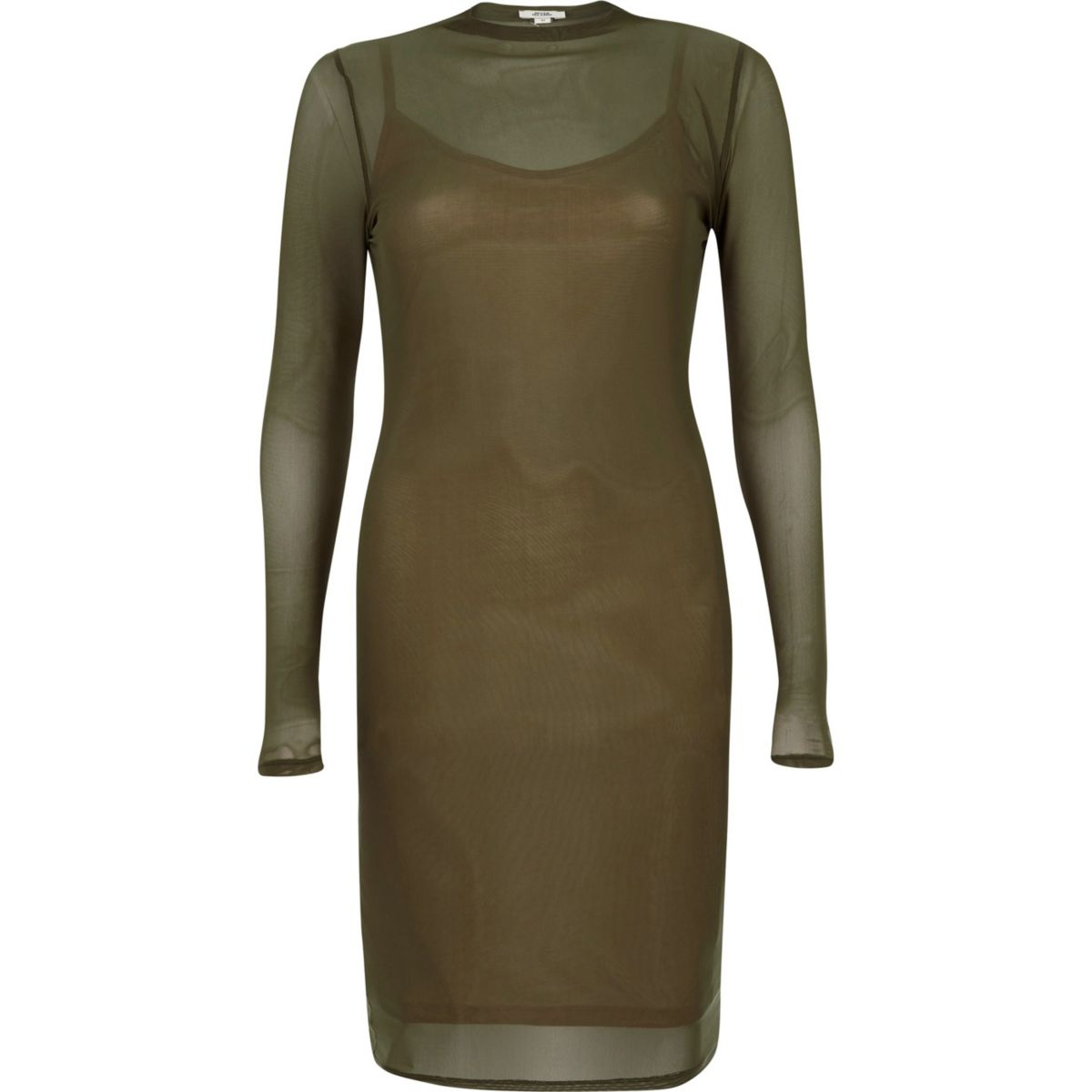 Khaki green mesh long sleeve bodycon dress