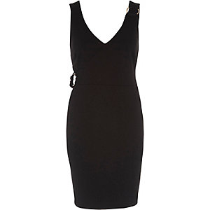 Black ring detail bodycon dress