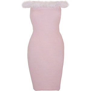 Light pink fluffy trim bardot bodycon dress