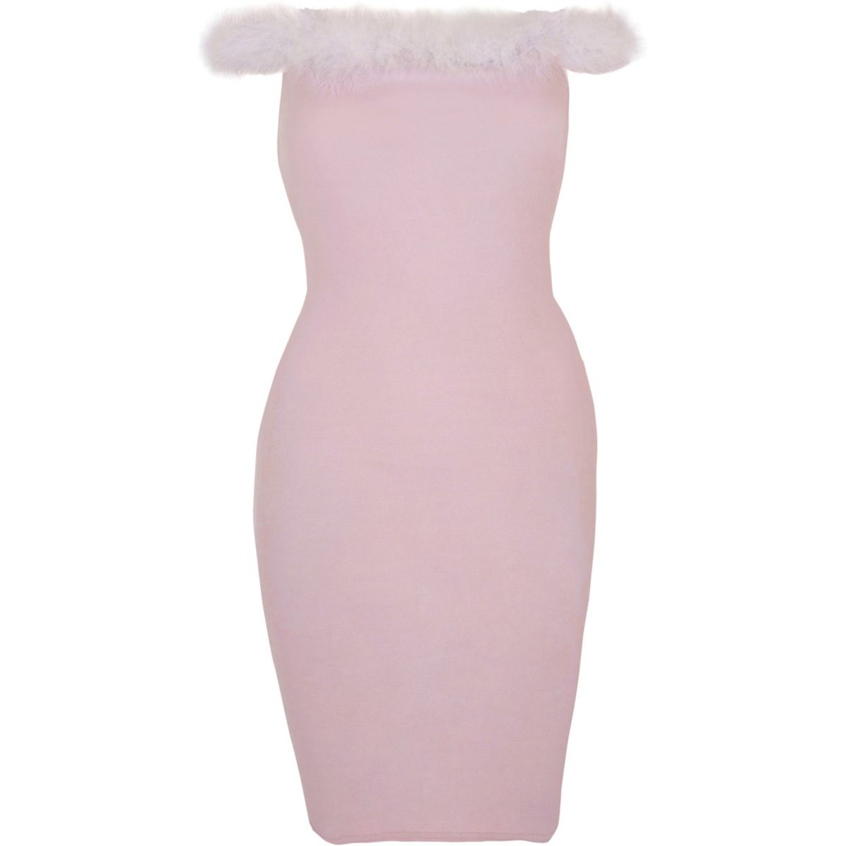 Light pink fluffy trim bardot bodycon dress