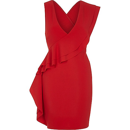 Red sleeveless frill front bodycon dress