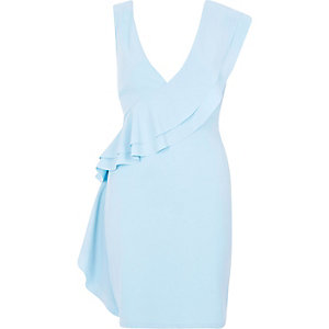 Blue sleeveless frill front bodycon dress