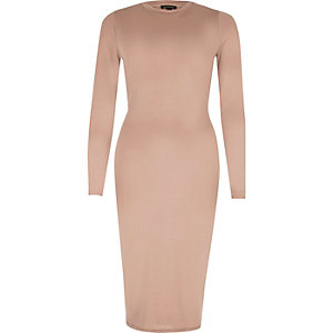 Nude long sleeve bodycon midi dress