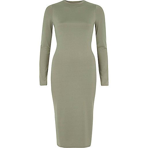 Light green long sleeve bodycon midi dress