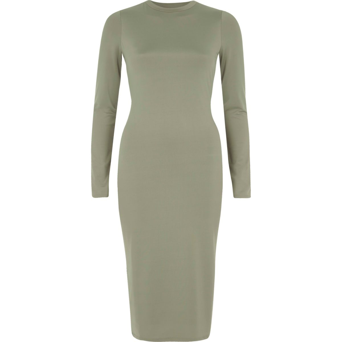 Light green long sleeve bodycon midi dress