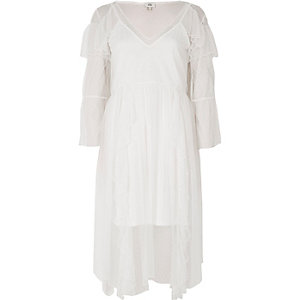 Cream dobby mesh frill bell sleeve midi dress
