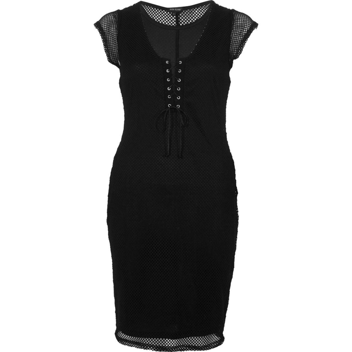Zwart jurk van mesh met corsetsluiting voor