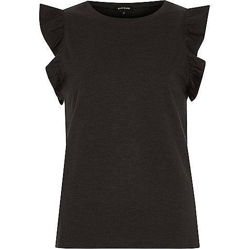 Black frill sleeve tank top
